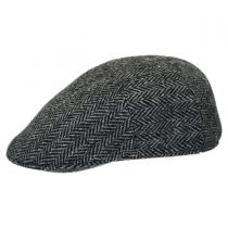 Herringbone Harris Tweed Wool Ascot Cap in