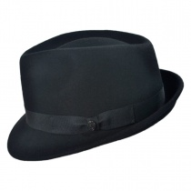 Detroit Wool Felt Trilby Fedora Hat - Black alternate view 3