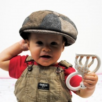 Baby Herringbone Patchwork Wool Blend Newsboy Cap alternate view 6