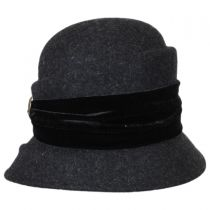 Buttons and Velvet Wool Cloche Hat