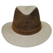 Linen and Leather Safari Fedora Hat in