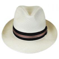 Striped Band Grade 8 Panama Straw Fedora Hat in