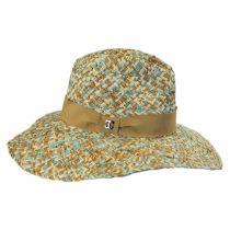 Three-Tone Raffia Straw Fedora Hat in
