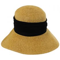 Pleated Chiffon Toyo Straw Facesaver Hat in