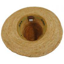 Braided Leather Band Organic Raffia Straw Fedora Hat in