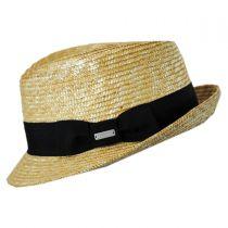 Wheat Braid Straw Arnold Trilby Fedora Hat in