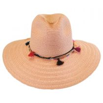 Tassel Trim Toyo Straw Safari Fedora Hat alternate view 2
