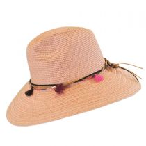 Tassel Trim Toyo Straw Safari Fedora Hat alternate view 3
