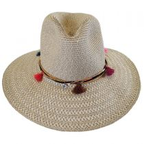 Tassel Trim Toyo Straw Safari Fedora Hat alternate view 6