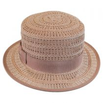 Crocheted Toyo Straw Boater Hat in