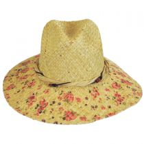 Floral Print Raffia Straw Fedora Hat in