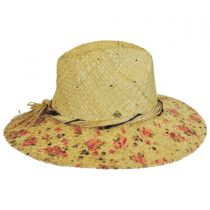 Floral Print Raffia Straw Fedora Hat alternate view 4