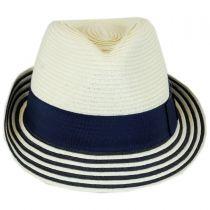 Striped Brim Toyo Straw Fedora Hat in