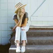 Amelia Raffia Straw Fedora Hat in
