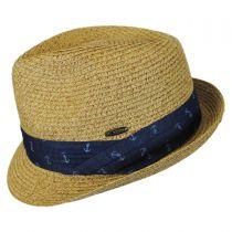Nautical Band Toyo Straw Trilby Fedora Hat in