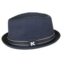 Turnt Up Brim Fabric Trilby Fedora Hat in