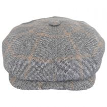 Check Linen and Wool Newsboy Cap in