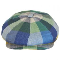 Check Patch Linen Newsboy Cap in