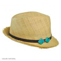 Turquoise Squares Raffia Straw Fedora Hat