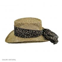 Twisted Seagrass Gambler Hat with Leopard Scarf in