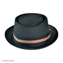 Dijon Hemp Straw Pork Pie Hat - Black in