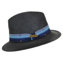 Striped Straw Fedora Hat in