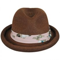 Roll Up Brim Straw Fedora Hat in