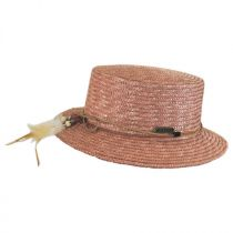 Tribal Trim Straw Boater Hat in