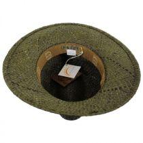 Printed Band Straw Safari Fedora Hat in