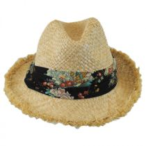 Country Floral Band Straw Fedora Hat in