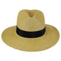 Wide Brim Toyo Straw Fedora Hat in