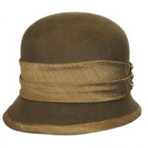 Silk Trim Packable Wool Felt Cloche Hat in