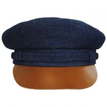 Denim and Leather Fiddler Cap in