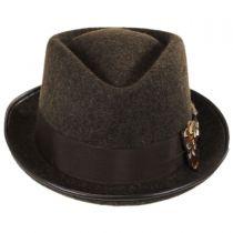 Pheasant Wool Felt Diamond Crown Fedora Hat in