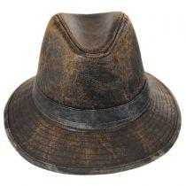Camo Trim Distressed Cotton Safari Fedora Hat in