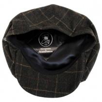 Windowpane Plaid Loden Wool Newsboy Cap in