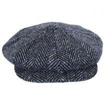 Large Herringbone Donegal Tweed Wool Newsboy Cap in