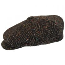 Large Herringbone Donegal Tweed Wool Newsboy Cap alternate view 3