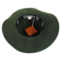 Floral Applique Wool Felt Floppy Hat - Olive in