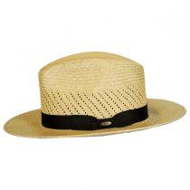 Vent Crown Panama Straw Safari Fedora Hat in