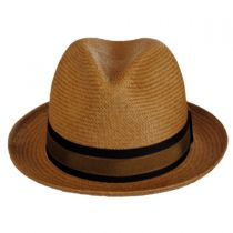 Two-Tone Band Panama Straw Trilby Fedora Hat in