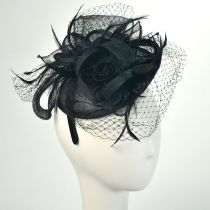 Three Flower Straw Fascinator Headband in Alternate View