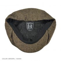 Brood Herringbone Wool Blend Newsboy Cap - Brown/Khaki