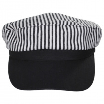 Striped Cotton Sailor's Cap - Contrast Bill alternate view 2