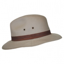 Packable Cotton Twill Safari Fedora Hat in