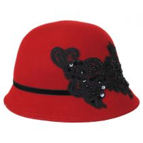 Lace and Sequins Wool Felt Cloche Hat in