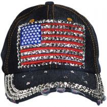 Studded Flag Strapback Baseball Cap Dad Hat alternate view 2