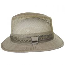 Web Trim Mesh Cotton Safari Fedora Hat in