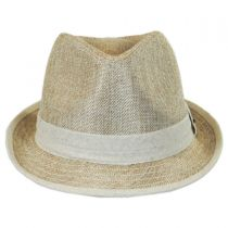 Two-Tone Burlap Trilby Fedora Hat in