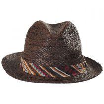Navajo Raffia Straw Fedora Hat in